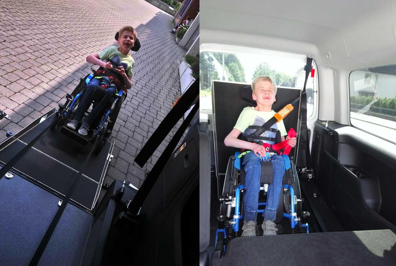 Junge im Rollstuhl im Auto