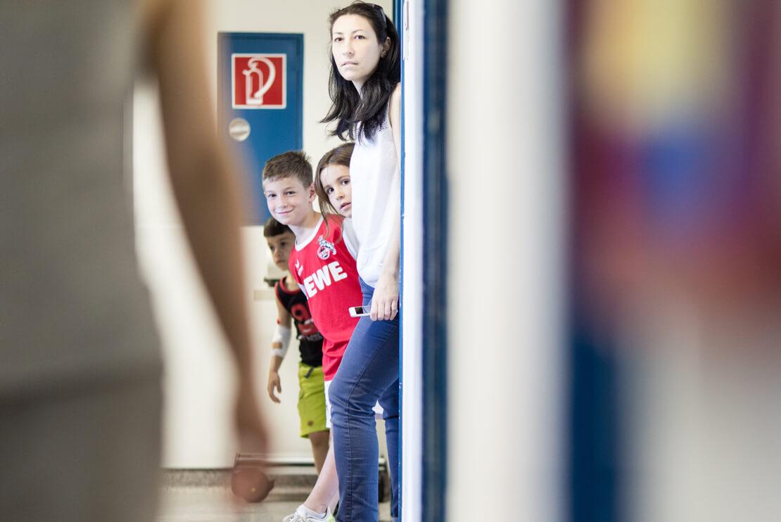 children in the hallway