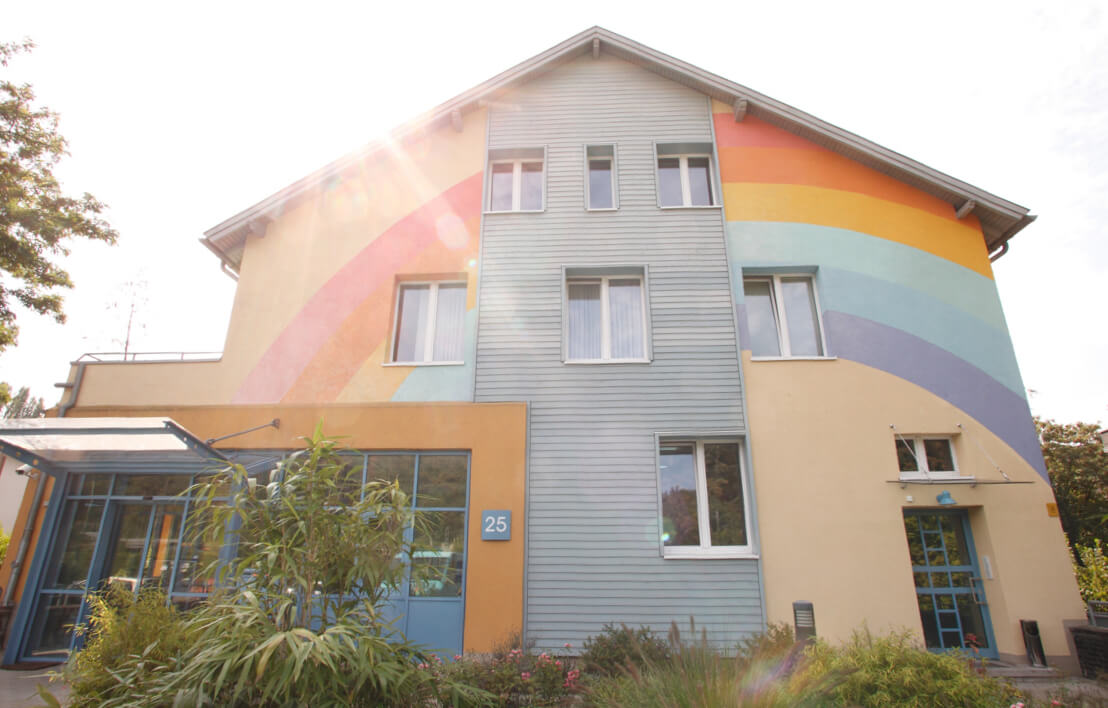 building with colored walls