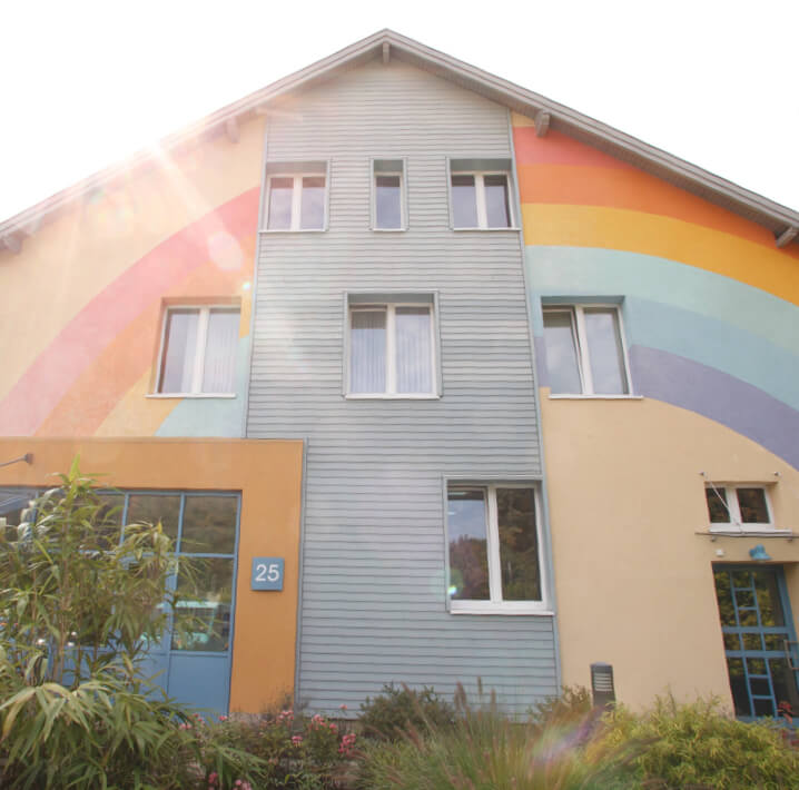 building with bright colored walls
